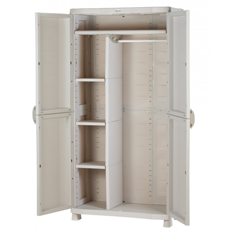 armoire de rangement blanche en plastique plastiken 184x90x45. Black Bedroom Furniture Sets. Home Design Ideas