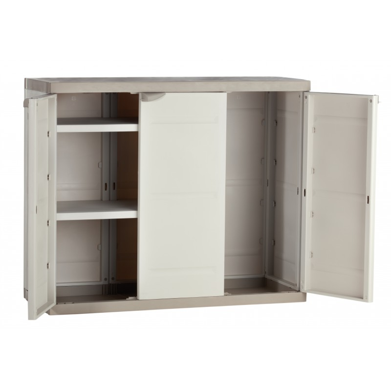 armoire de rangement plastiken 3 portes basse. Black Bedroom Furniture Sets. Home Design Ideas