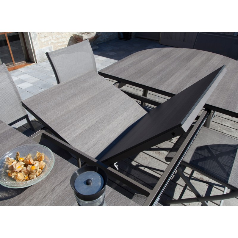 Table bilbao 220 280 cm plateau hpl for Table exterieur hpl
